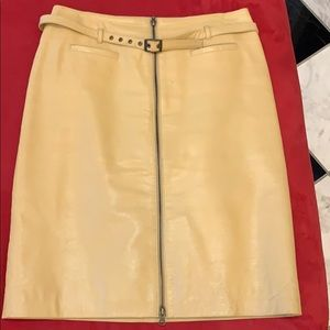 Camel leather Bisou Bisou skirt.